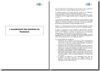 L'encadrement des membres du Parlement