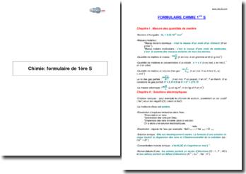 Chimie: formulaire de 1ère S