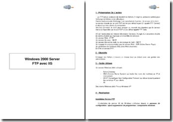 Windows 2000 Server, FTP avec IIS