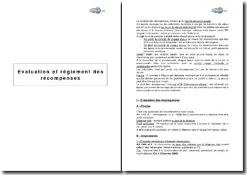 Evaluation et règlement des récompenses