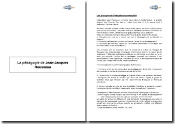 La pédagogie de Jean-Jacques Rousseau