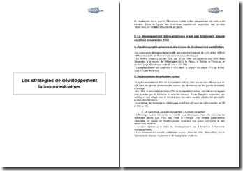 Les stratégies de développement latino-américaines