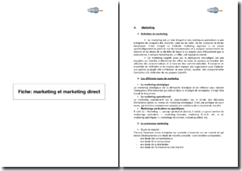Fiche : marketing et marketing direct