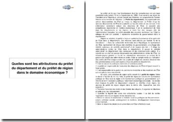 Quelles sont les attributions du préfet du département et du préfet de région dans le domaine économique ?