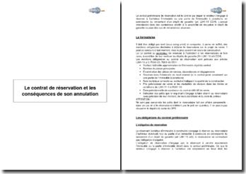 Le contrat de réservation et les conséquences de son annulation