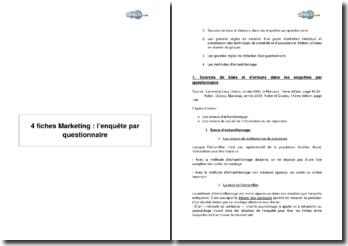 4 fiches Marketing : l'enquête par questionnaire