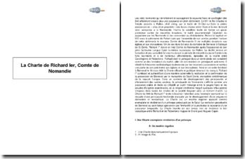 La Charte de Richard Ier, comte de Nomandie