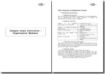 Compte-rendu d'entretien: Organisation Médiane