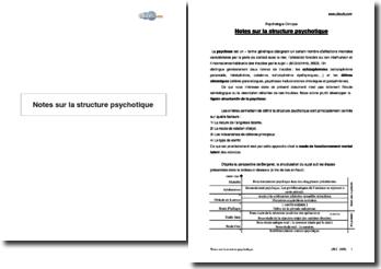 Notes sur la structure psychotique