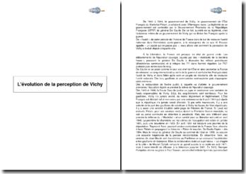 L'évolution de la perception de Vichy