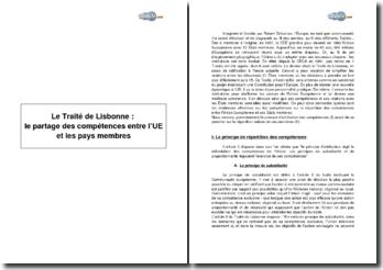 Le Traité de Lisbonne : le partage des compétences entre l'UE et les pays membres