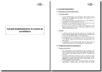 Conseil d'administration et conseil de surveillance