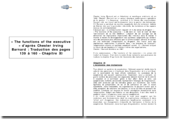 « The functions of the executive » d'après Chester Irving Barnard : Traduction des pages 139 à 160 - Chapitre XI