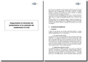 Organisation et structure de présentation d'un mémoire de soutenance à l'oral
