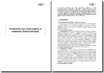 Introduction aux droits anglais et américain, Roland Séroussi
