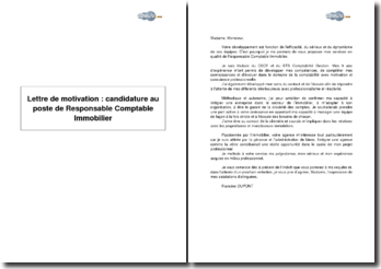 Lettre de motivation : candidature au poste de Responsable Comptable Immobilier