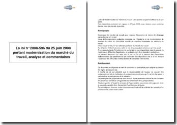 La loi n 2008-596 du 25 juin 2008 portant modernisation du marché du travail, analyse et commentaires