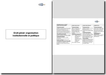 Droit pénal: organisation institutionnelle et politique