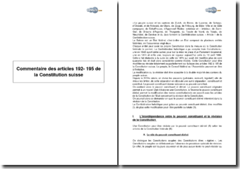 Commentaire des articles 192- 195 de la Constitution Suisse