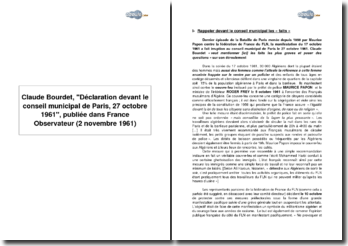 Claude Bourdet, Déclaration devant le conseil municipal de Paris, 27 octobre 1961, publiée dans France Observateur (2 Novembre 1961)