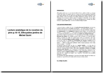 Lecture analytique de la vocation du père p.16-19, Effroyables jardins de Michel Quint