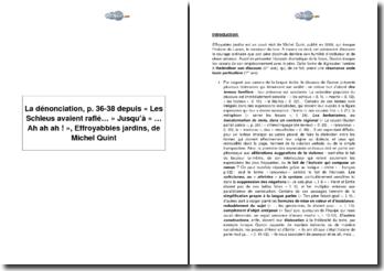 La dénonciation, p. 36-38 depuis « Les Schleus avaient raflé... » jusqu'à « ... Ah ah ah ! », Effroyabbles jardins, de Michel Quint