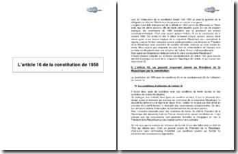 L'article 16 de la constitution de 1958
