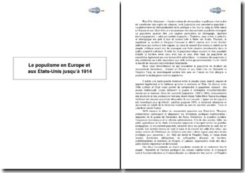 Le populisme en Europe et aux Etats-Unis jusqu'à 1914