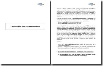 Le contrôle des concentrations - mise en place progressive et réglementation actuelle