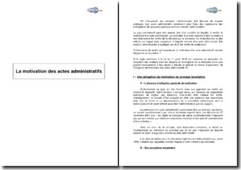 Synthèse: la motivation des actes administratifs