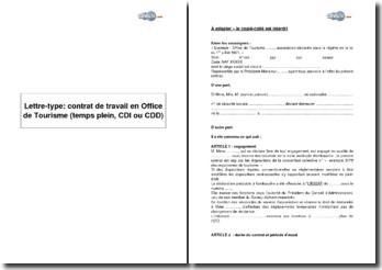 Lettre-type: contrat de travail en Office de Tourisme (temps plein, CDI ou CDD)