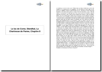 Le lac de Come, Stendhal, La Chartreuse de Parme, Chapitre II