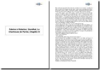 Fabrice à Waterloo, Stendhal, La Chartreuse de Parme, Chapitre III