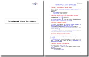 Formulaire de Chimie Terminale S