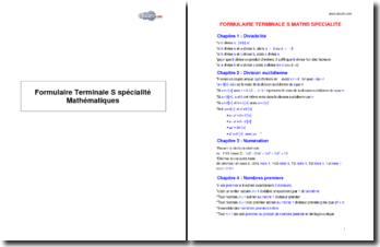 Formulaire Terminale S spécialité Mathématiques