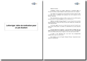 Lettre-type: lettre de motivation pour un job étudiant