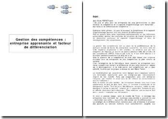 Gestion des compétences: entreprise apprenante et facteur de différenciation