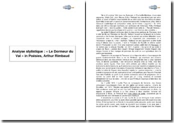Analyse stylistique: « Le Dormeur du Val » in Poésies, Arthur Rimbaud