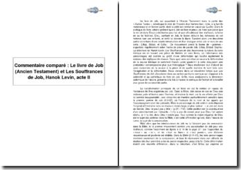 Commentaire comparé : Le livre de Job (Ancien Testament) et Les Souffrances de Job, Hanok Levin, acte II