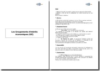 Les Groupements d'Intérêts économiques (GIE)