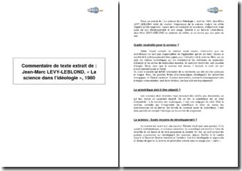 Commentaire de texte extrait de : Jean-Marc LEVY-LEBLOND, « La science dans l'idéologie », 1980