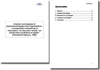 Analyse sociologique et psychosociologique des organisations: «l'enrayement contraint de la motivation», en lien avec l'article Le travail entre souffrance et plaisir (Christophe Dejours, 1998)
