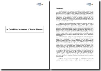 La Condition humaine, d'André Malraux - la technique narrative au serivce de l'angoisse et l'action, l'homme et la révolution
