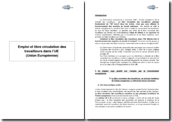 Emploi et libre circulation des travailleurs dans l'Union Européenne (UE)