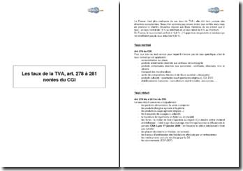 Les taux de la TVA, art. 278 à 281 nonies du CGI