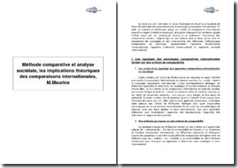 Méthode comparative et analyse sociétale, les implications théoriques des comparaisons internationales, M.Maurice