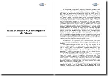 Etude du chapitre XLIII de Gargantua, de Rabelais