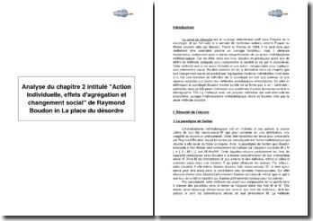 Analyse du chapitre 2 intitulé Action individuelle, effets d'agrégation et changement social de Raymond Boudon in La place du désordre