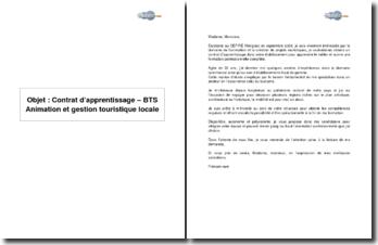 Contrat d'apprentissage - BTS Animation et gestion touristiques locales
