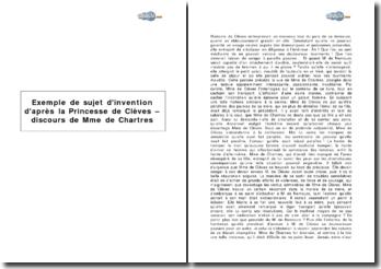 Exemple de sujet d'invention d'après la Princesse de Clèves - discours de Mme de Chartres